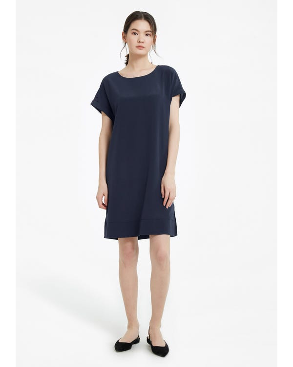Simple Elegant Long Silk Shift Dress-hover