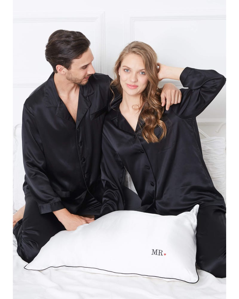 22 Momme Classic Full Length Silk Couple Pyjamas Sets