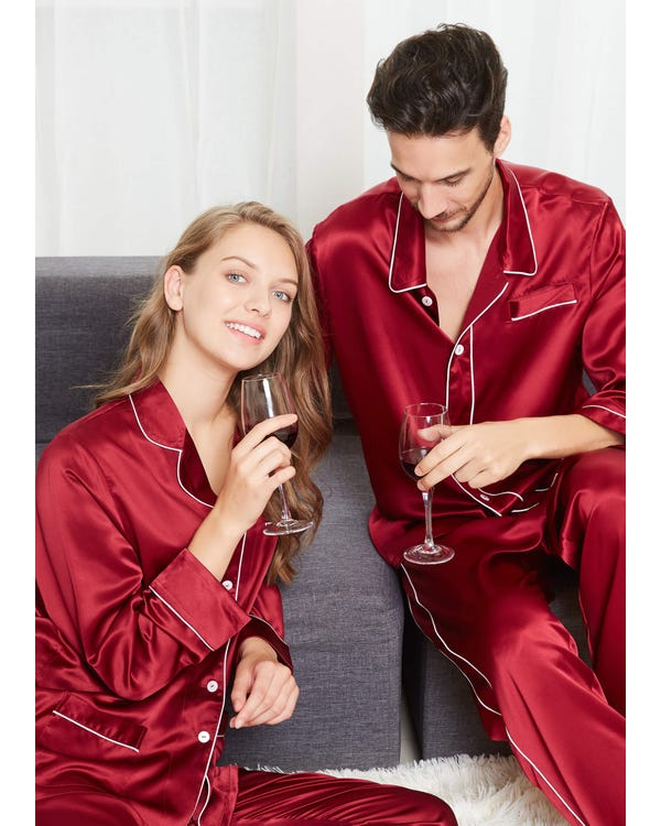 22 Momme Chic Trimmed Silk Couple Pajamas Sets