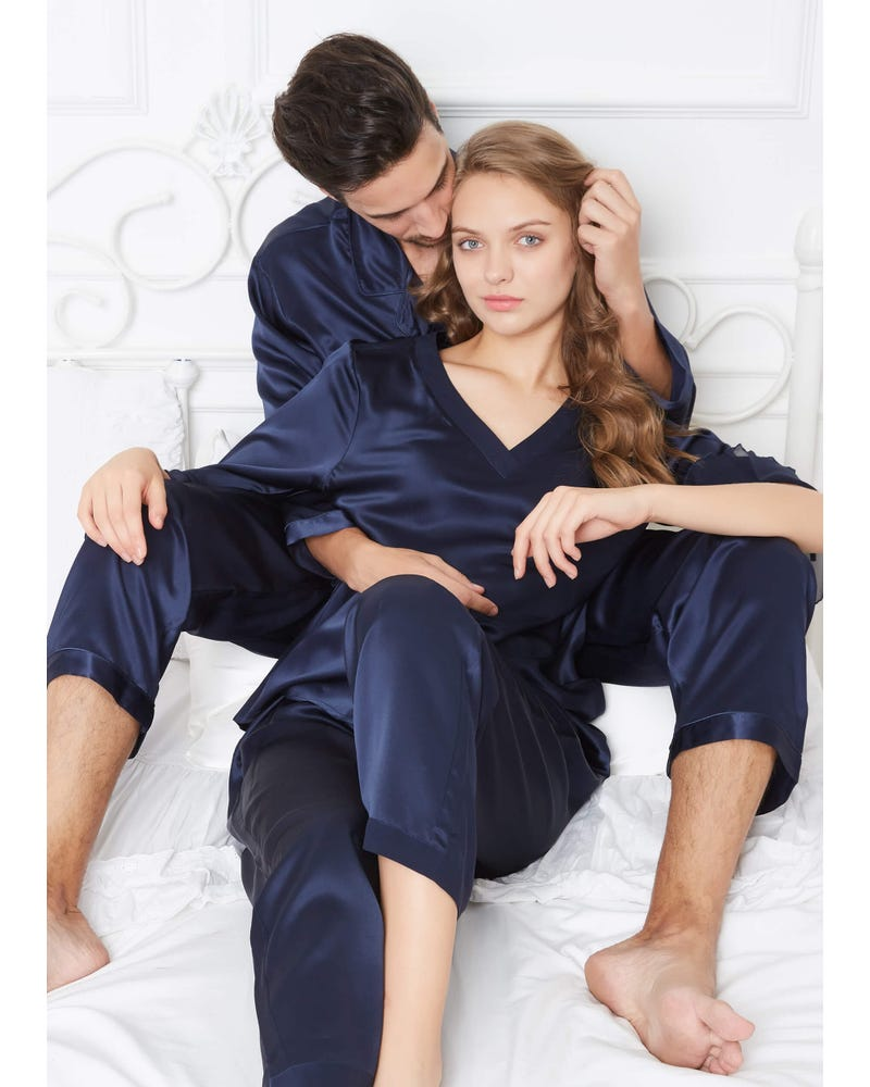 22 Momme Romantic Silk Couple Pyjamas Sets