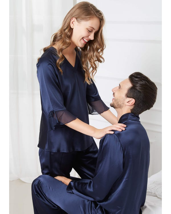22 Momme Romantic Silk Couple Pajamas Sets