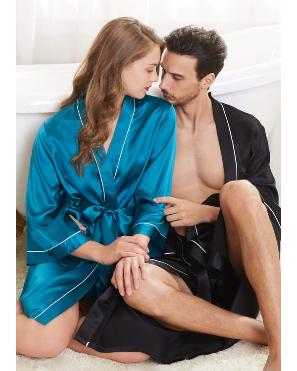 22 Momme Unique Silk Couple Robes