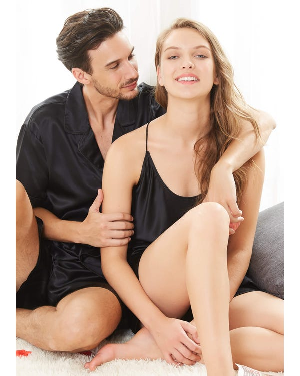 22 Momme Short Silk Couple Pajamas Sets-hover