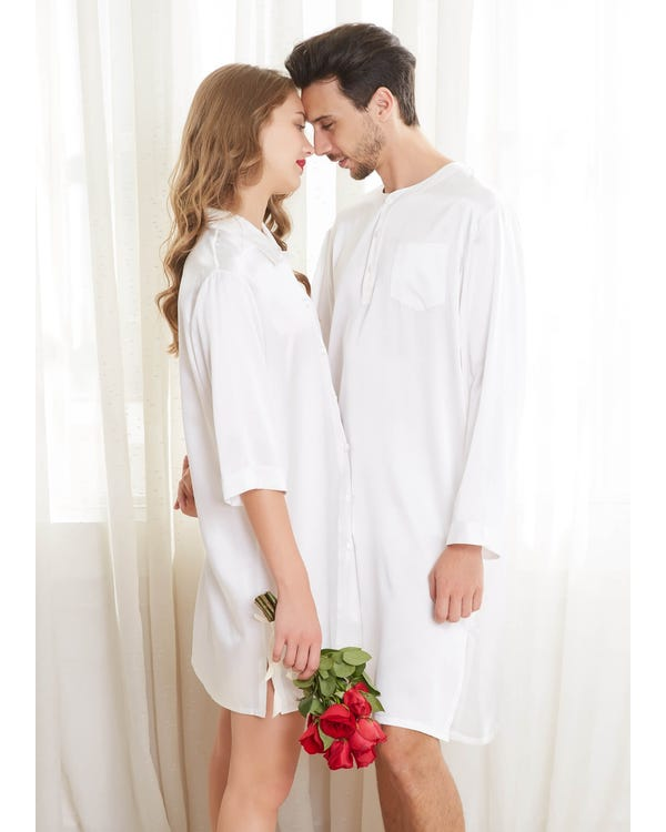 22 Momme Simple Silk Couple Nightshirts-hover