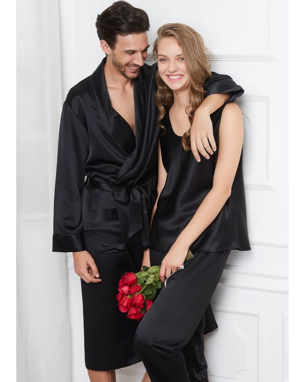 22 Momme Comfy Silk Couple Pyjamas And Camisole Set