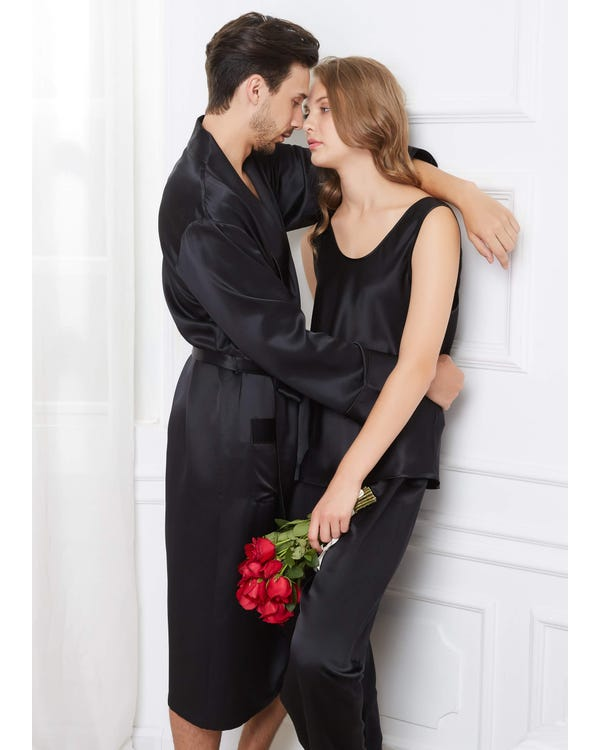 22 Momme Comfy Silk Couple Pajamas And Camisole Set-hover
