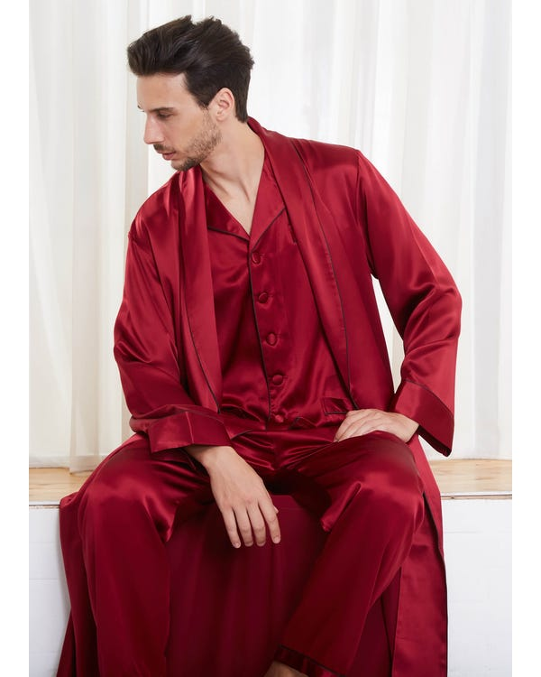22 Momme Long Sleeve Matching Couples Robe And Pajamas Sets