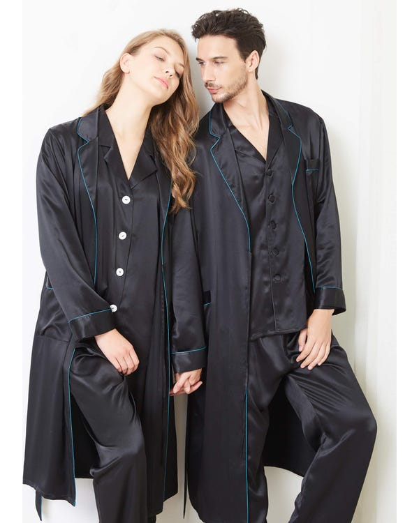 22 Momme Stylish Silk Couple Robe And Pajamas Sets
