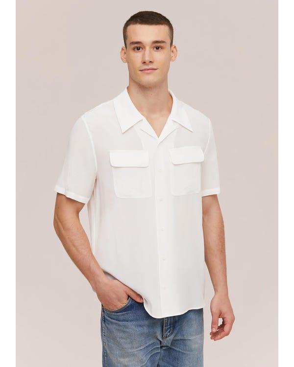 Camicia da uomo classica in seta a manica corta Natural White L