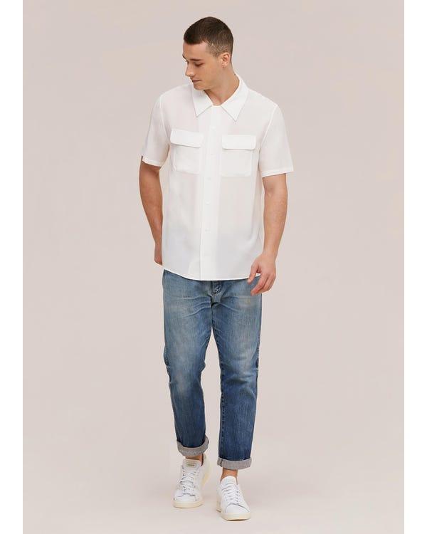 Camicia da uomo classica in seta a manica corta Natural White L-hover