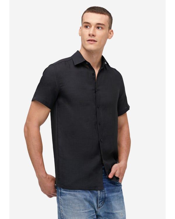 Camicia da uomo basic in lino a manica corta Black XXL