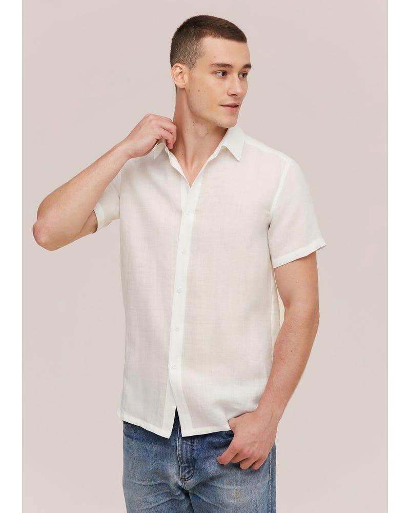 Basic Linen Short Sleeve Shirt For Men