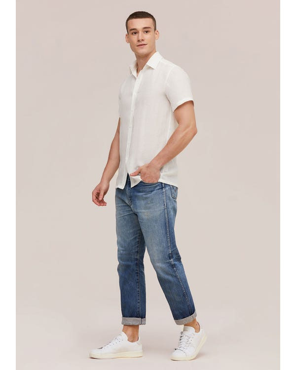 Basic Linen Short Sleeve Shirt For Men-hover