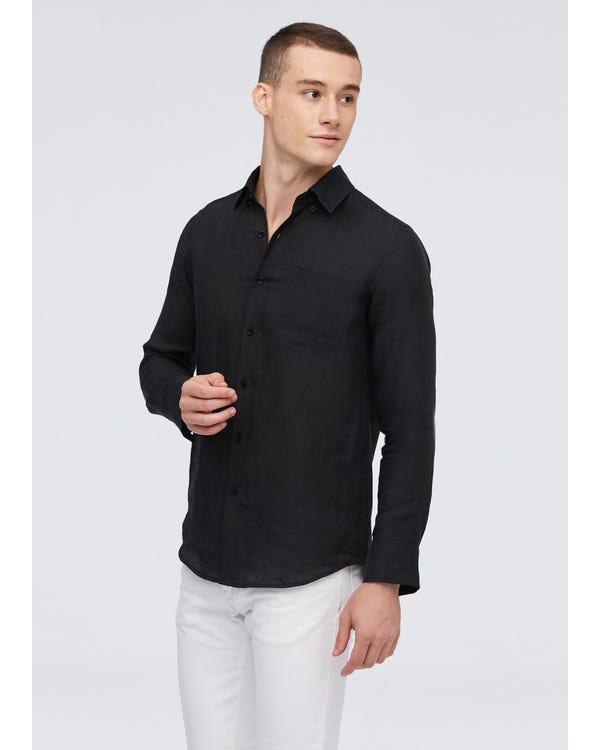 Camicia da uomo a maniche lunghe in lino basic Black XXL-hover