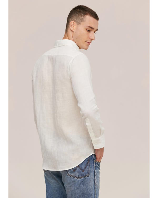 Basic Linen Long Sleeve Shirt For Men-hover