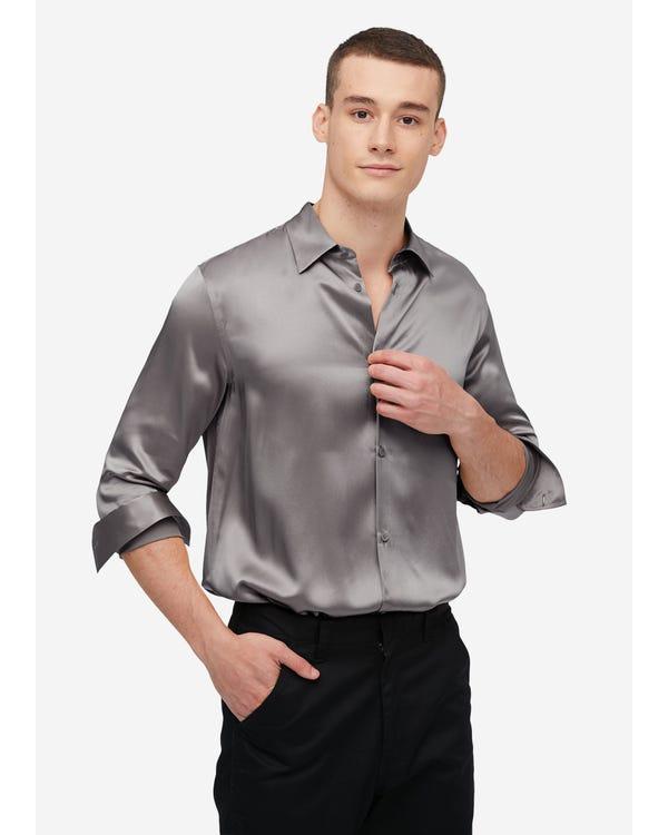 22MM Maulbeerseide Basic Herrenhemd Dark Gray XXL