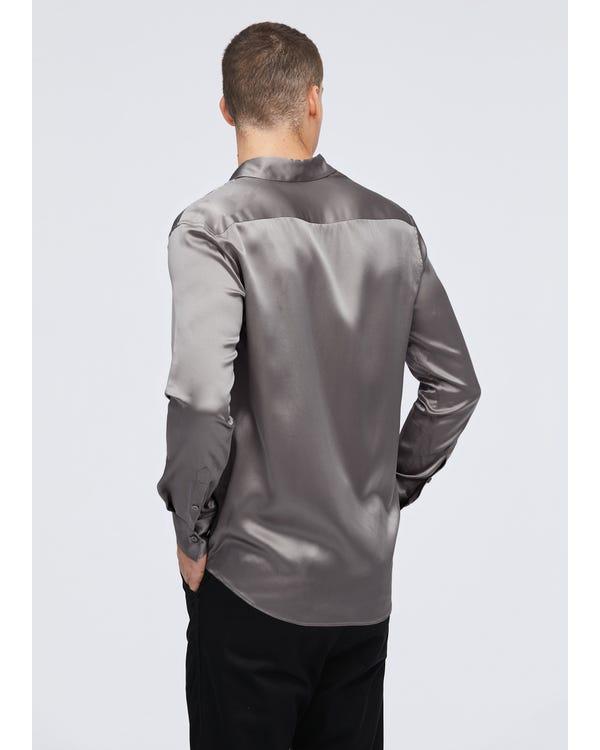 Camicia da uomo basic in seta gelso 22MM Dark Gray XXL-hover