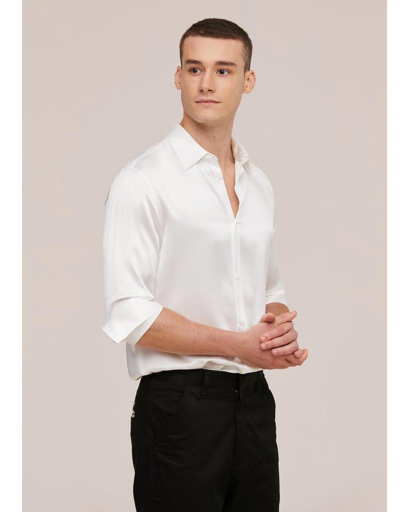 22MM Mulberry Silk Basic Mens Shirt