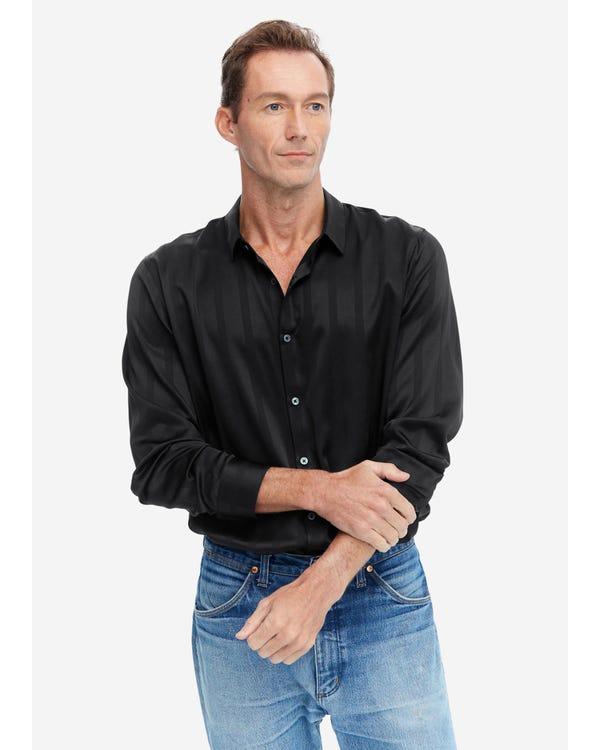 Luxe Zijden Heren Overhemd Met Jacquard Black S