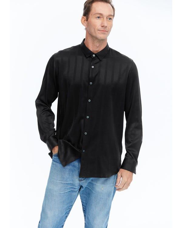 Luxe Zijden Heren Overhemd Met Jacquard Black S-hover