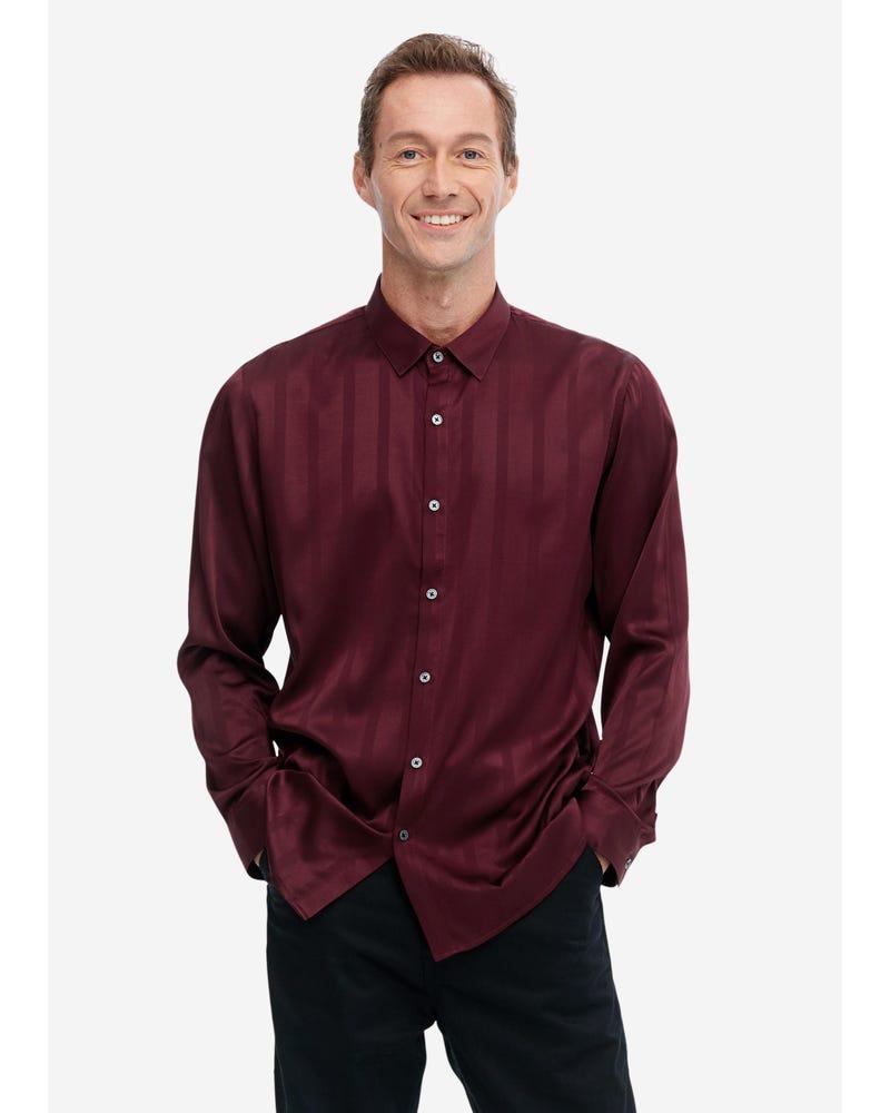 Luxurious Men's Silk Shirt With Jacquard