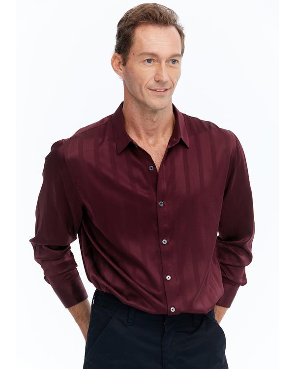 Luxurious Men's Silk Shirt With Jacquard