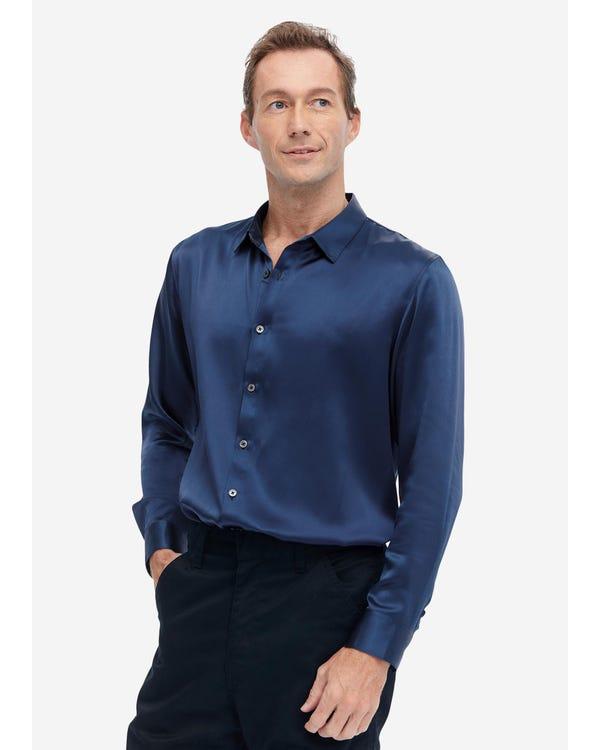 Zijden Klassiek Heren Overhemd Met Lange Mouwen blue-w05 S