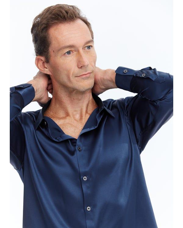 Zijden Klassiek Heren Overhemd Met Lange Mouwen blue-w05 S-hover