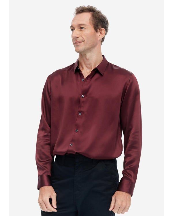 Klassisches Herren Seidenhemd mit langen Ärmeln red-w02 L