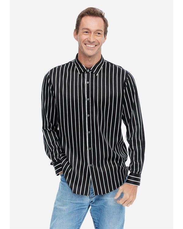 Langarm Seidenhemd für Herren mit Streifen Black-White-Stripes M