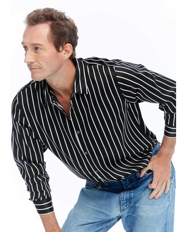 Langarm Seidenhemd für Herren mit Streifen Black-White-Stripes M-hover