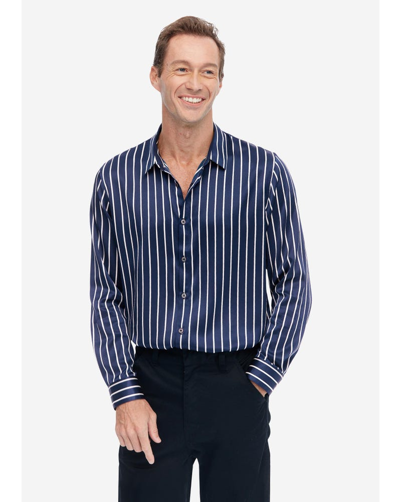 Long Sleeve Men's Silk Shirt With Stripe