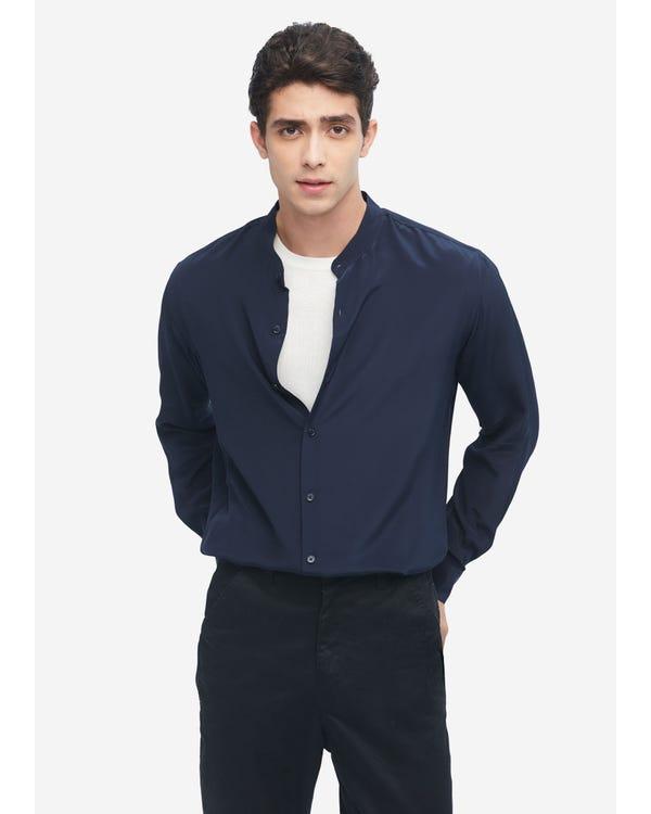 Camicia formale da uomo in seta Navy Blue L