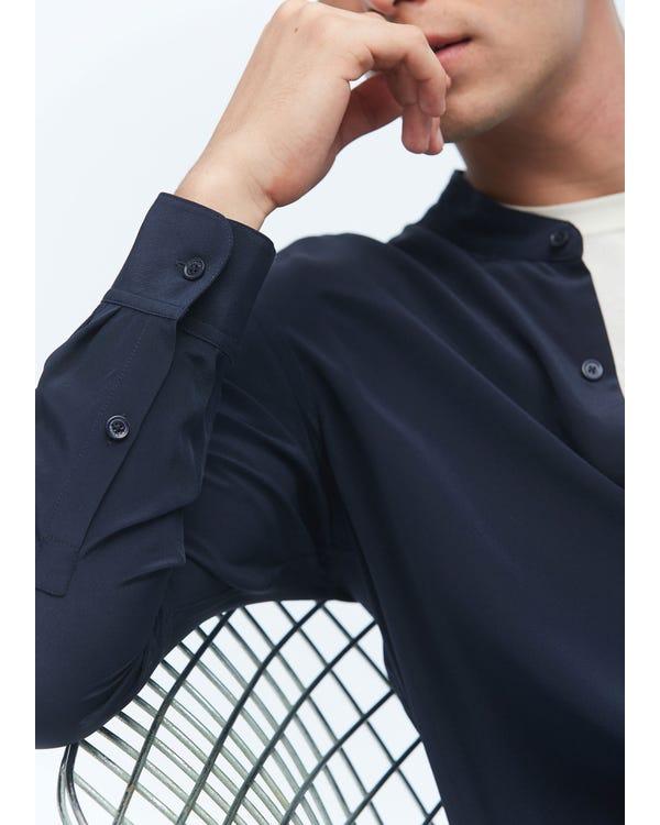 Camicia formale da uomo in seta Navy Blue L-hover