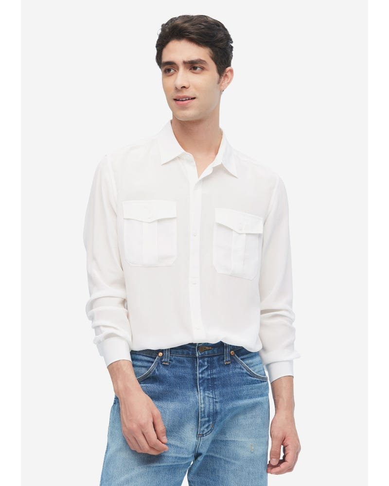 Formal Mens Silk Shirt With Patch Pockets