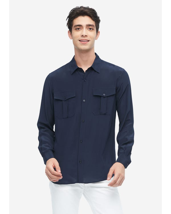 Formal Mens Silk Shirt With Patch Pockets Navy Blue XXXL