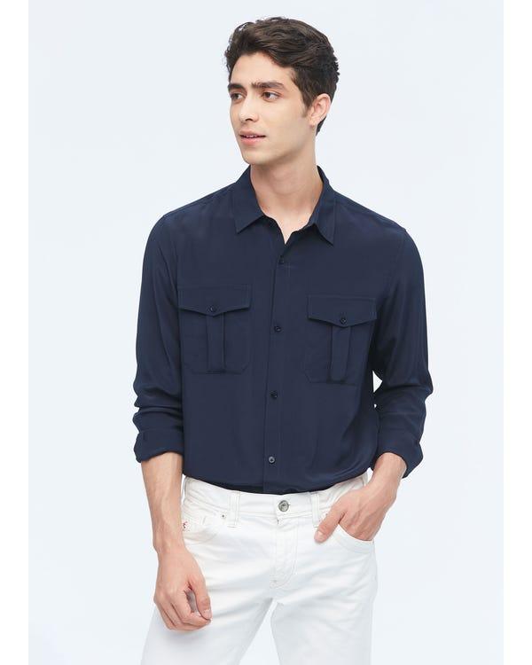 Camicia di seta da uomo formale con tasche applicate Navy Blue L-hover