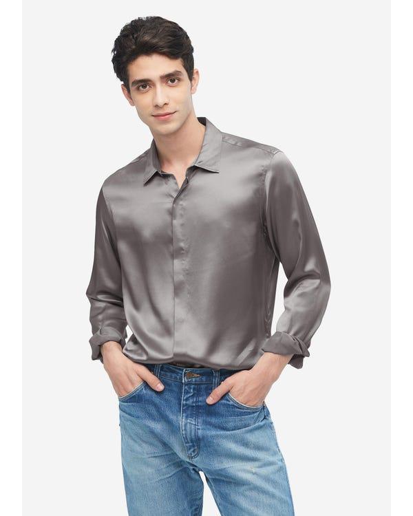 Camicia da uomo classica in seta a maniche lunghe Dark Gray XXL