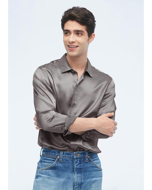 Camicia da uomo classica in seta a maniche lunghe Dark Gray L-hover