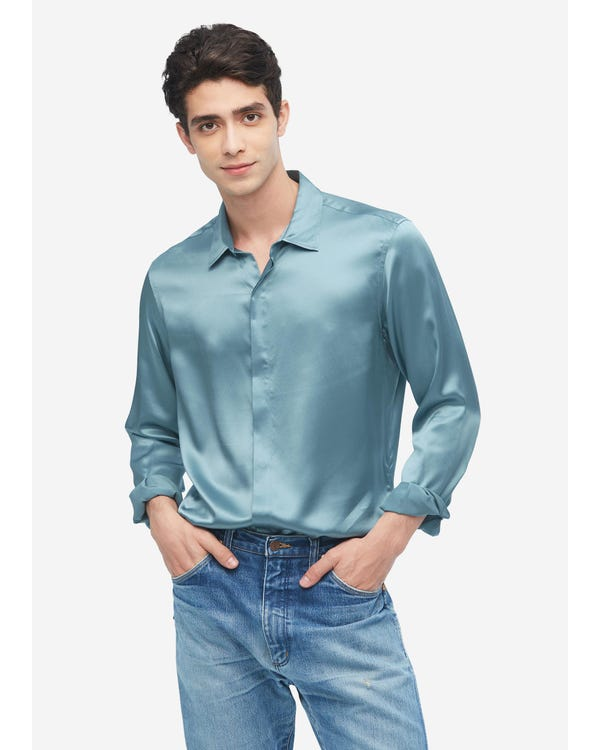Classic Long Sleeve Silk Shirt For Men