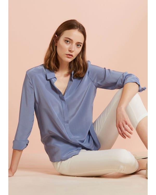 Daily Wear Versatile Silk Shirt Dusty-Blue JPXXXL