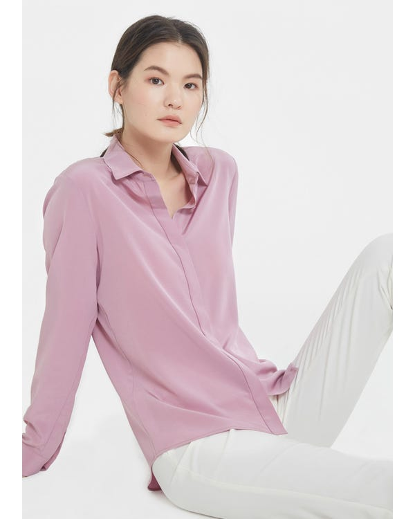 Long Sleeve Soft Versatile Silk Shirt Pale-Lilac XXL