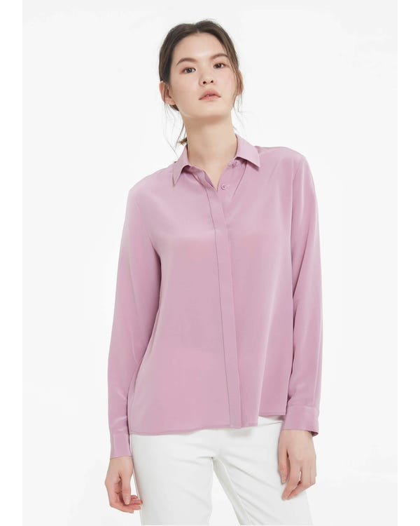 Long Sleeve Soft Versatile Silk Shirt Pale-Lilac XS