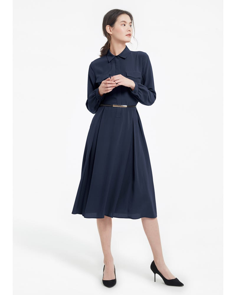 Women's Long Sleeve Retro Graceful Silk Dress