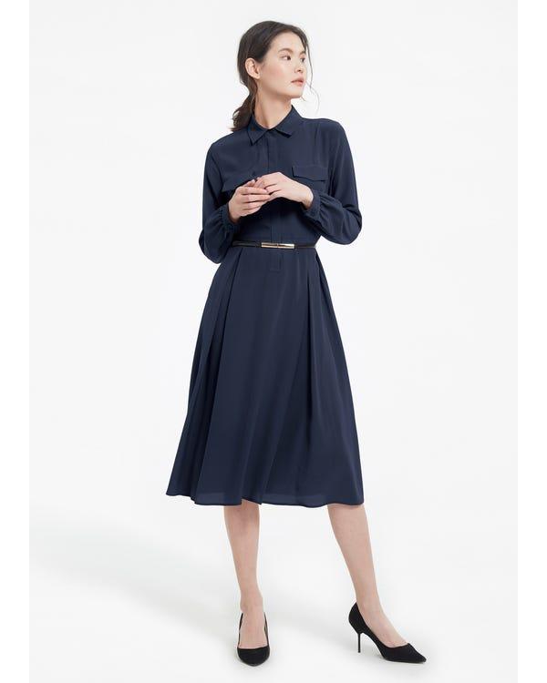 Damen Langärmliges Retro Anmutiges Seidenkleid