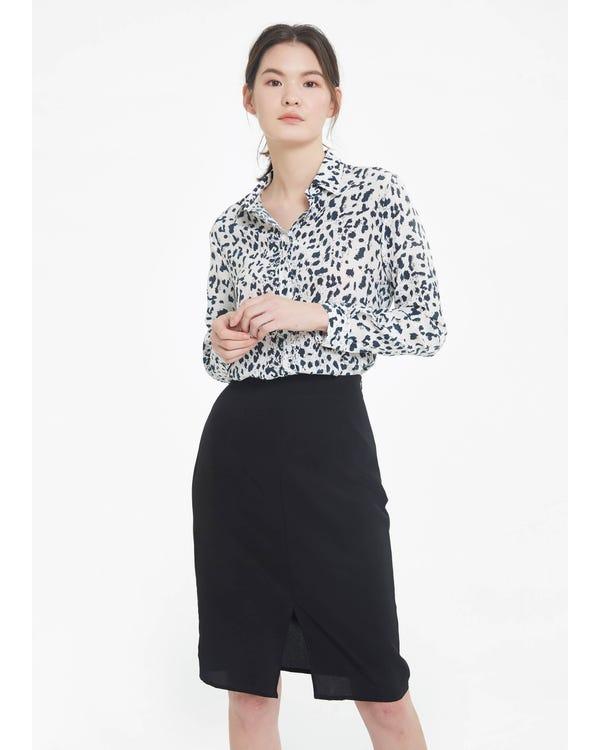 Wit Luipaard Zijden Overhemd White-Leopard XL
