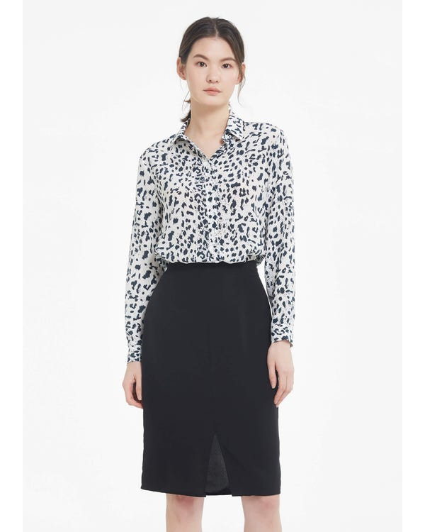 Wit Luipaard Zijden Overhemd White-Leopard XL-hover