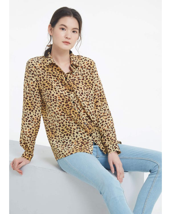 Classic Leopard Silk Shirt-hover