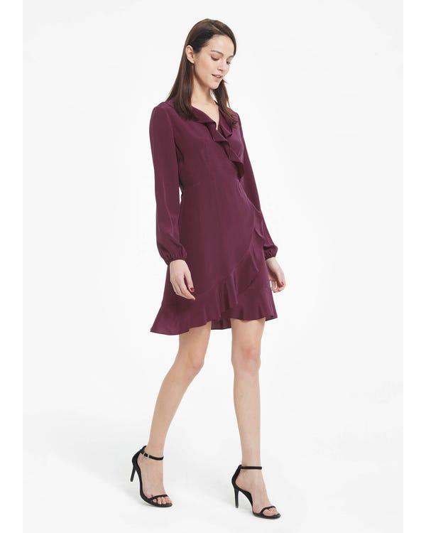 Chic Ruffled Silk Wrap Dress with Silk Tie Dark-Burgundy XXL