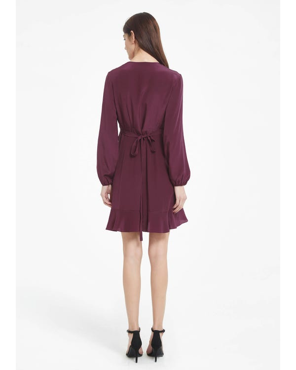 Chic Ruffled Silk Wrap Dress with Silk Tie Dark-Burgundy XXL-hover